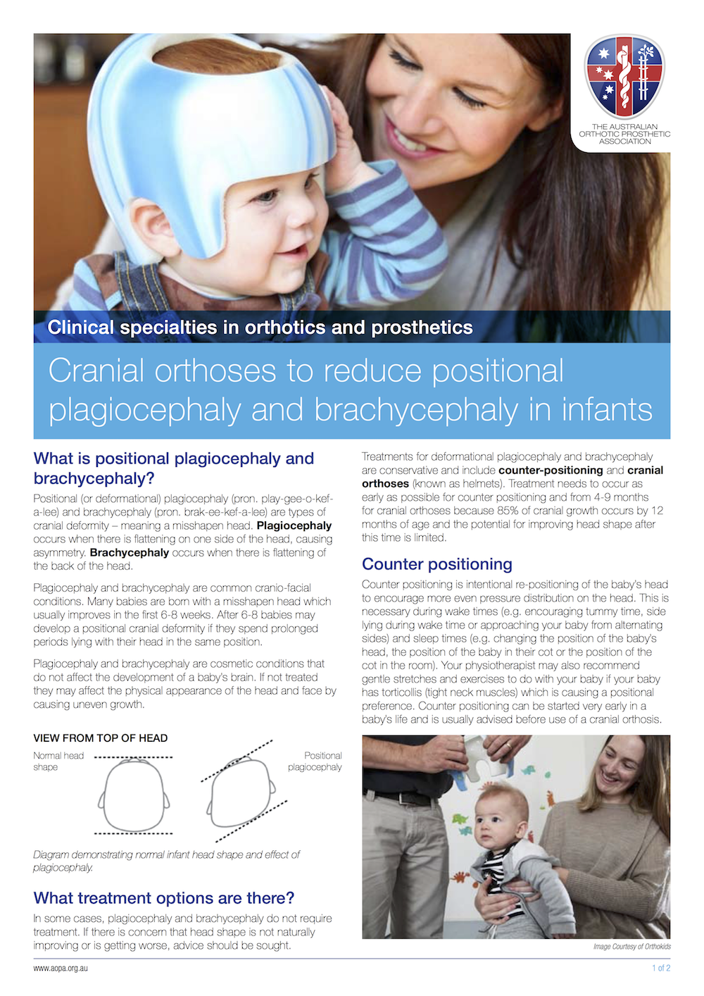 Australian Orthotic Prosthetic Association - Plagiocephaly and Drachycephaly