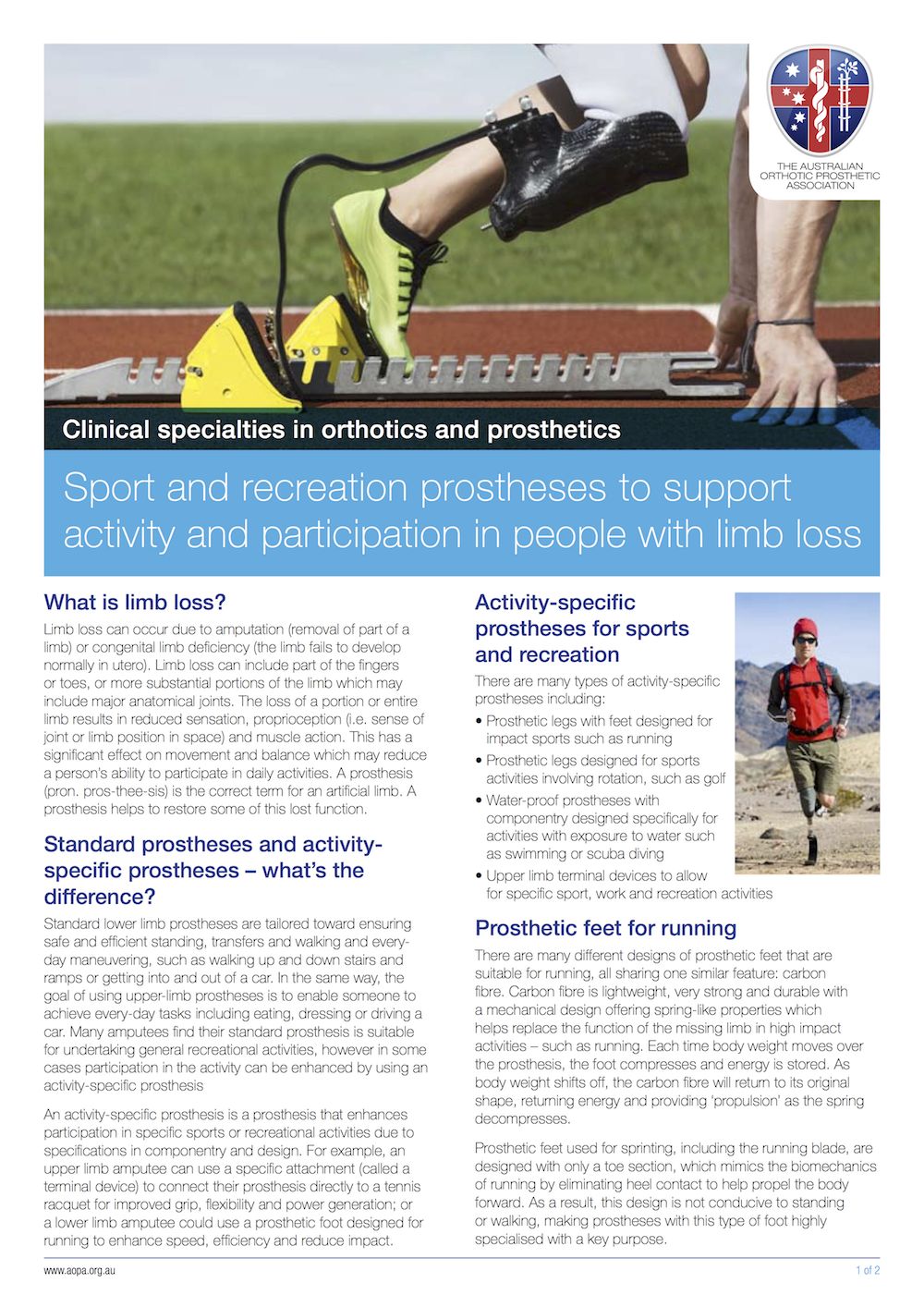 Australian Orthotic Prosthetic Association - Recreational Prostheses