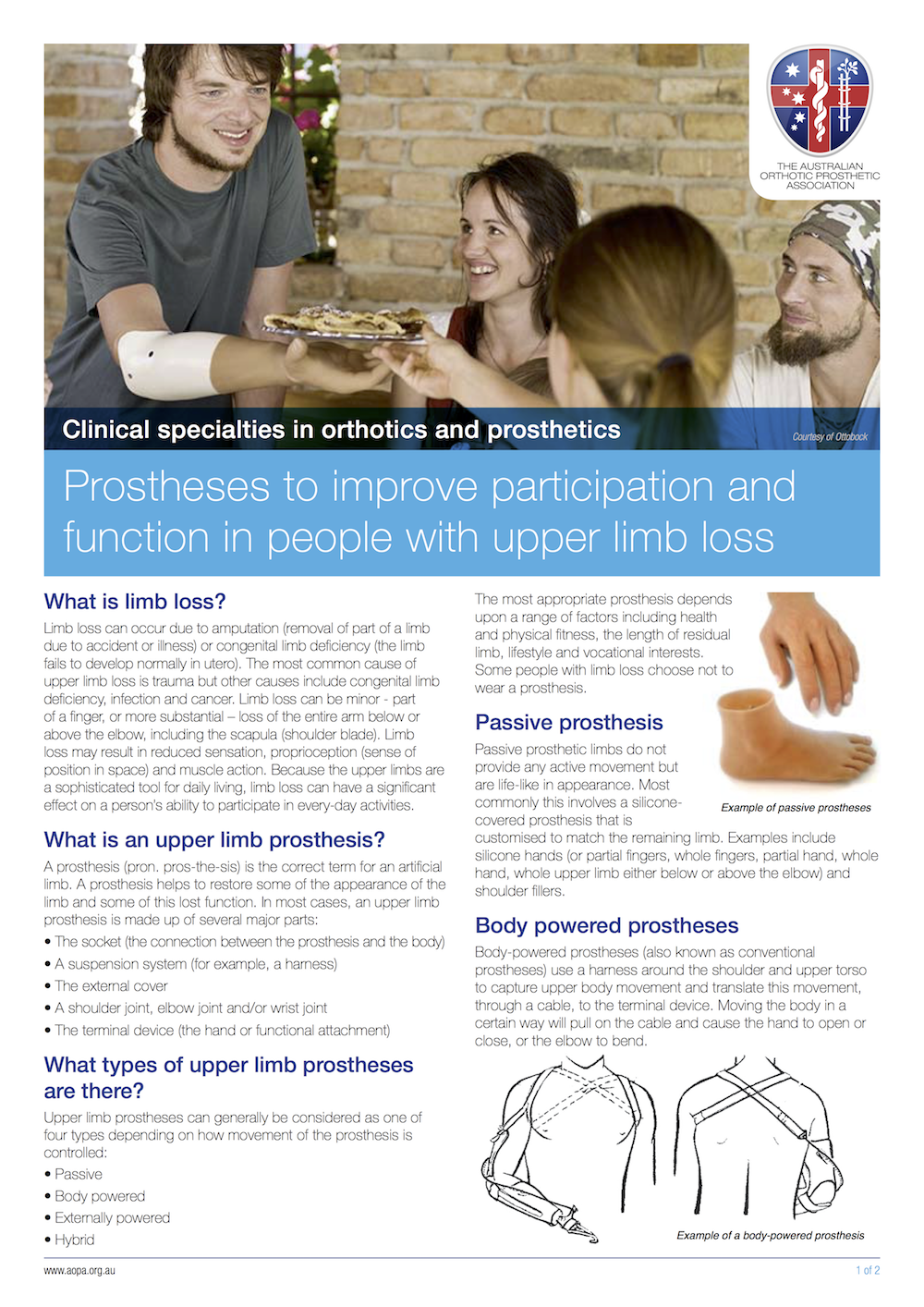 Australian Orthotic Prosthetic Association - Functional Prostheses